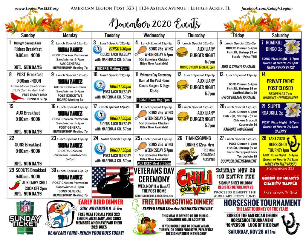 November 2020 Events Calendar