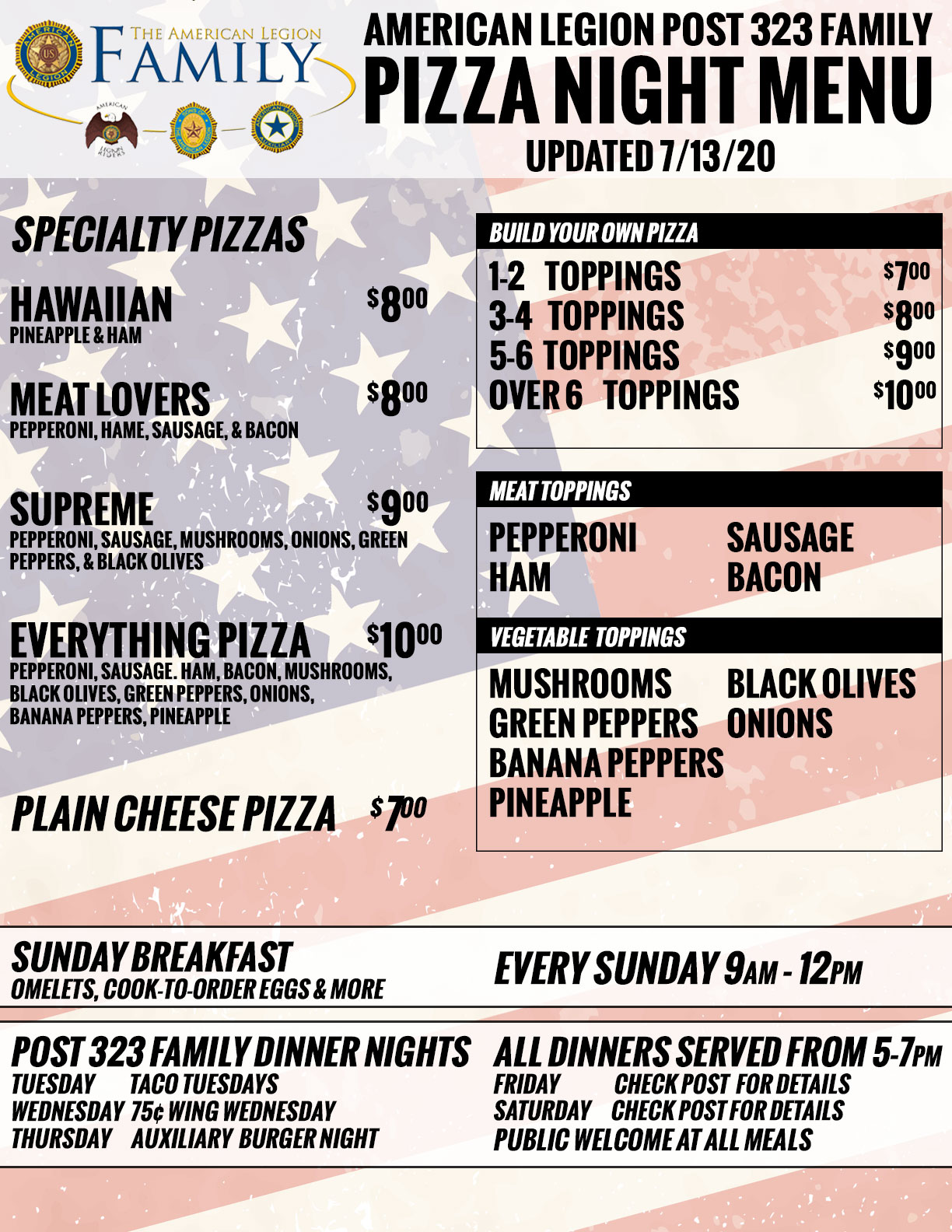 Post 323 Pizza Menu