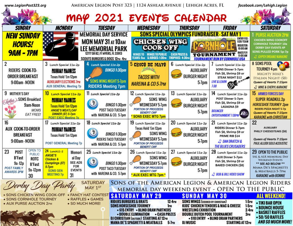 May 2021 Events Calendar
