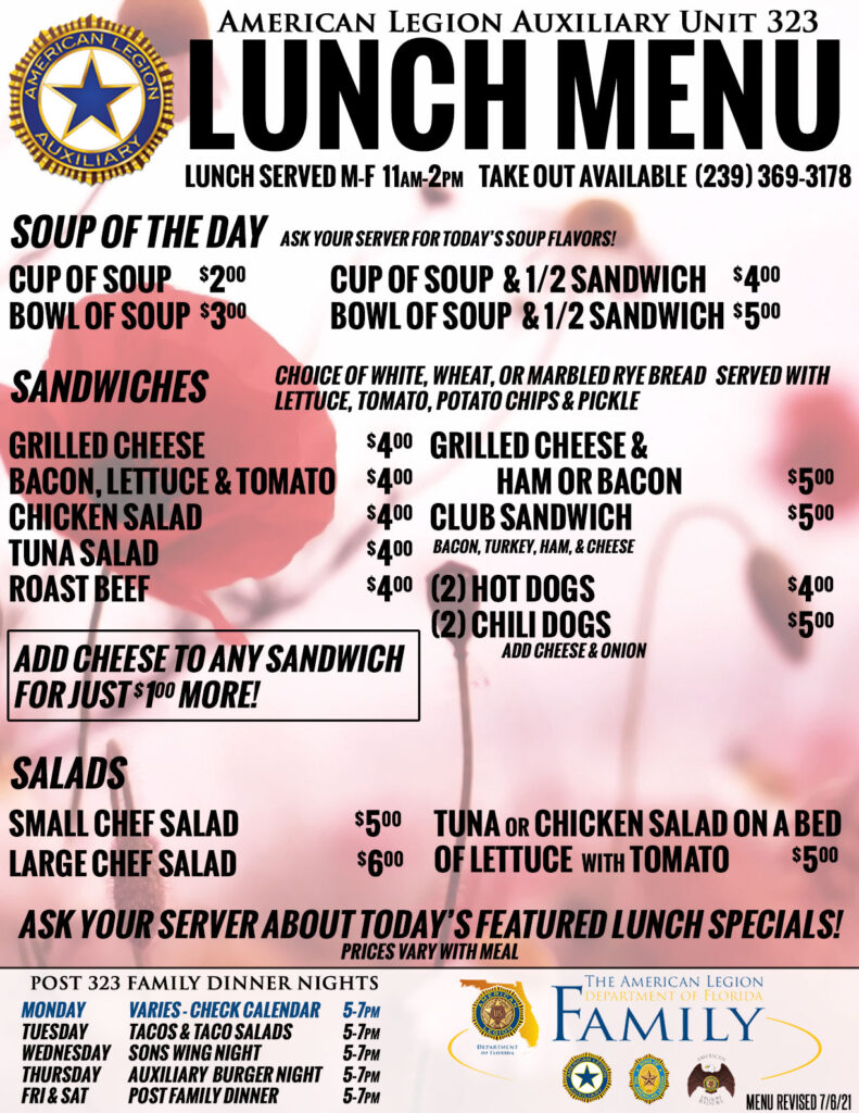 Auxiliary Lunch Menu